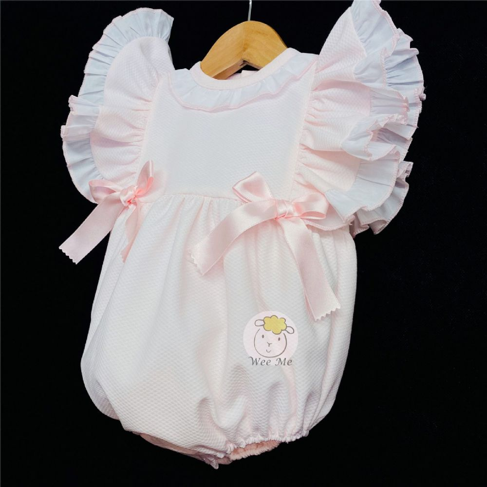 * Baby Girl Spanish Pink Waffle Frilly Romper
